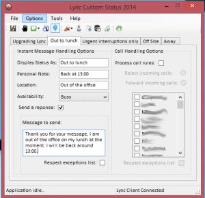 Lync Custom Status Tool