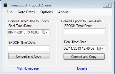 Epoch time to date